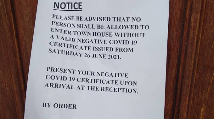 No Covid-19 test, no entry at Harare City Council offices