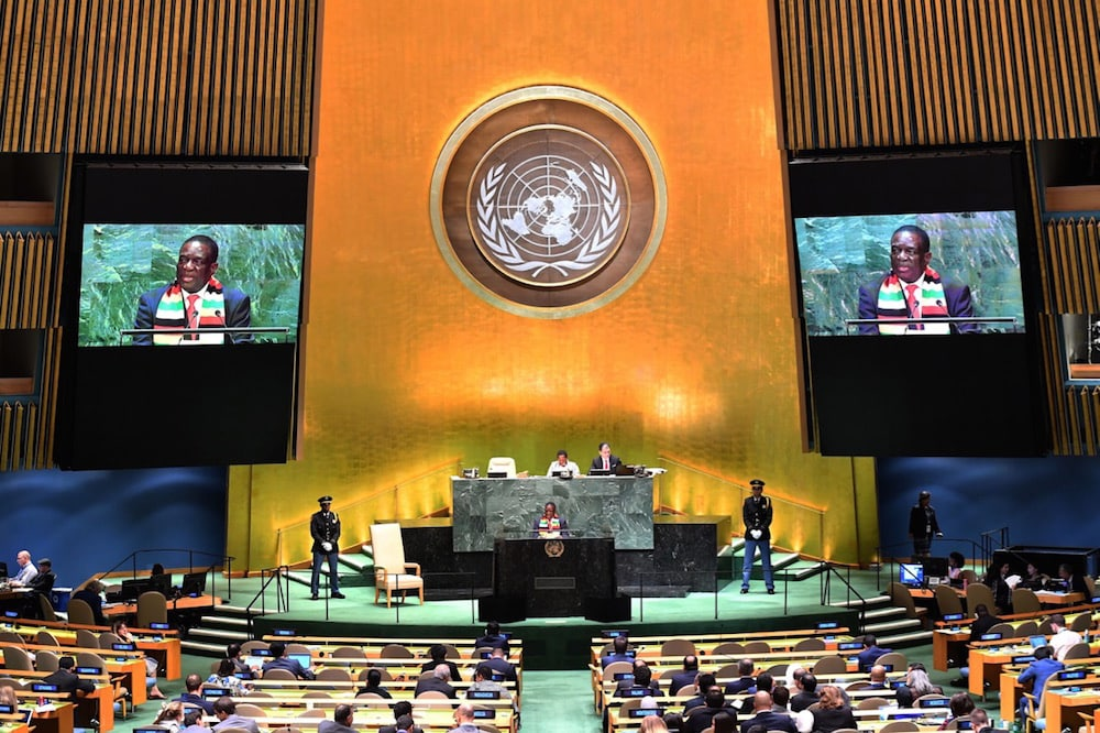 President of Zimbabwe Emmerson Dambudzo Mnangagwa speaks at the 74th Session of the General Assembly at the United Nations headquarters, in New York, 25 September 2019 in New York, JOHANNES EISELE/AFP via Getty Images