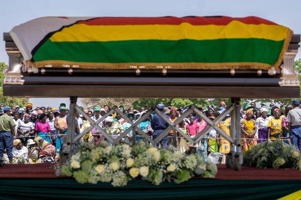Former Zimbabwean president Robert Mugabe lying in state at Murombedzi Growth Point. (File, Zinyange Auntony, AFP)